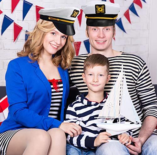 Bedwina Yacht Captain Hat - (Pack of 2) Adult Cruise Ship Nautical Admiral Sailor Navy Cap