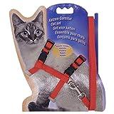 Grneric Arnés y Correa para Gato Collar Ajustable Antiescape Correas de Entrenamiento para Mascotas Pequeño y Gatito Caminata al Aire Libre (Rojo)