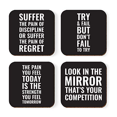 Andaz Press Motivational Square Drink Coasters Gift, Try and Fail But Don't Fail to Try, Suffer The Pain of Discipline or The Pain of Regret, 4-Pack, Inspirational Gym Gifts for Men