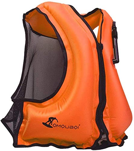 OMOUBOI Inflatable Snorkel Vest Kayak Inflatable Buoyancy Vest for Adults Snorkel Jackets for Swimming Snorkeling Paddling Boating Water Sports Beginner Adults-Only 110-220 lbs