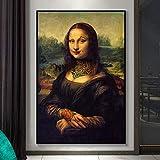 Arte de Parodia Abstracta Tatuajes Divertidos Mona Lisa Chica Mala Da Vinci Lienzo Pintura Arte de la Pared Póster Impresiones Dormitorio Sala de Estar Oficina Estudio Decoración del hogar