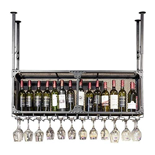 Unidad barra flotante Estantes Vino Bastidores Wall Holder, colgantes titular Copa de Vino, de altura ajustable, for copas Bastidores Organizador, titular de la botella de vino, vino Bastidores de tec