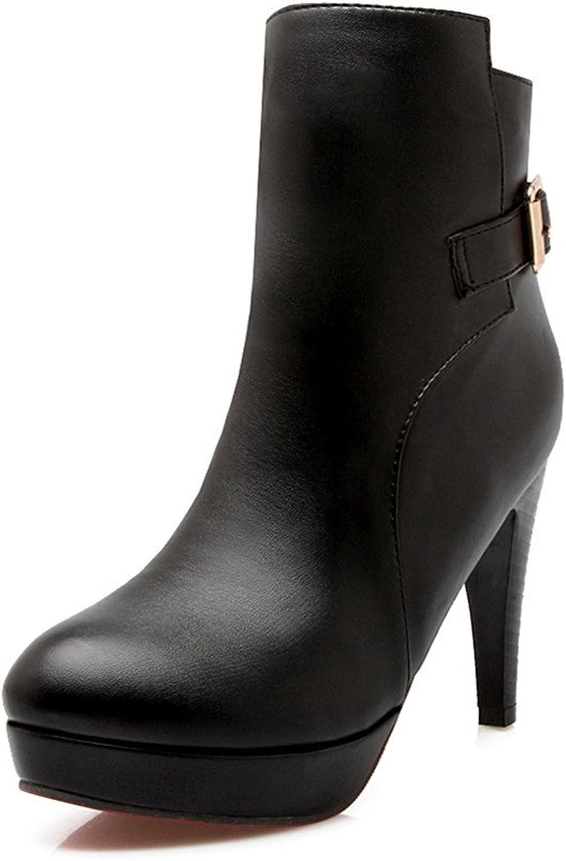 Lucksender Womens Buckle Decoration Side Zip Platform High Heel Short Boots