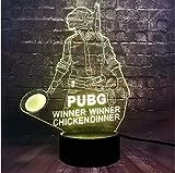 Lámpara de ilusión 3D Juego de luz nocturna LED de PUBG Figura 7 colores Carga USB Dormitorio Ilusión Batería Energía Estado de ánimo Luz nocturna Vacaciones Amigo Regalo divertido