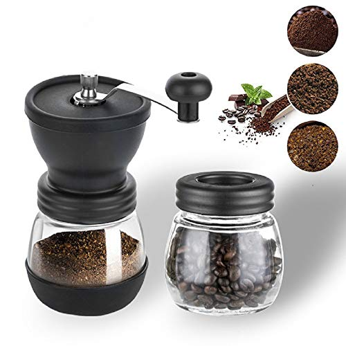 Premium Ceramic Burr Manual Coffee Grinder - Manual Ceramic Hand-crank Coffee Mill with Two Glass Jars,Stainless Steel Handle -Quiet and Portable Conical Ceramic Manual Burr Grinder,Grind your own Coffee Anywhere