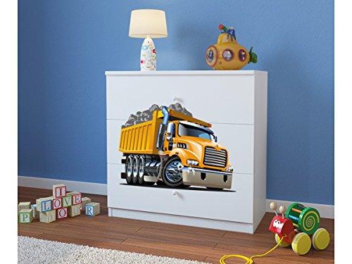 Commode Enfant Camion 3 TIROIRS – Blanc