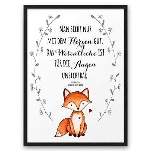 FUCHS Man sieht nur mit dem Herzen gut Zitat aus Der kleine Prinz ABOUKI Kunstdruck Poster Bild auf Wunsch mit Namen personalisiert Geschenk-Idee optional mit Holz-Rahmen