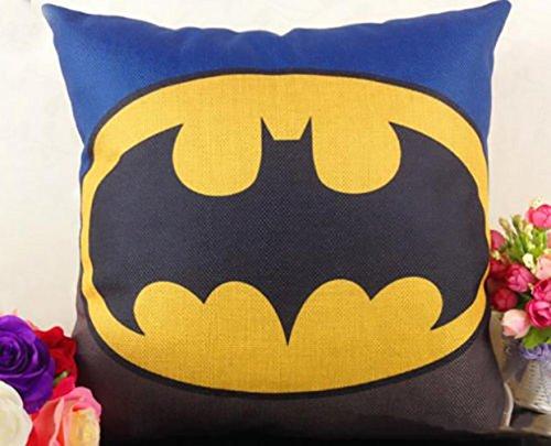 Super Heroes AVENGERS Decor Cushion Covers Pillows Hardwearing Hessian Linen Blend IRONMAN, SPIDERMAN, SUPERMAN, CAPTAIN AMERICA & BATMAN 45 X 45cm plus FREE LED TORCH KEYRING (BATMAN)