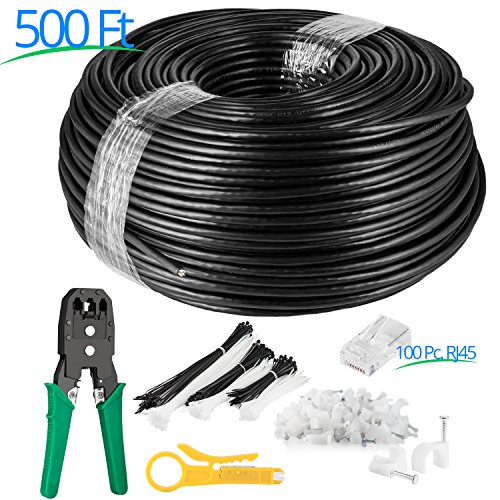 Maximm Cat6 Bulk UV Outdoor Cable (500 ft – Black) Zero Lag Pure Copper 550Mhz, Waterproof Ethernet Cable Suitable for Direct Burial Installations.