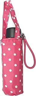 Totes 微型迷你手动雨伞,NeverWet 技术,粉色带白色圆点,