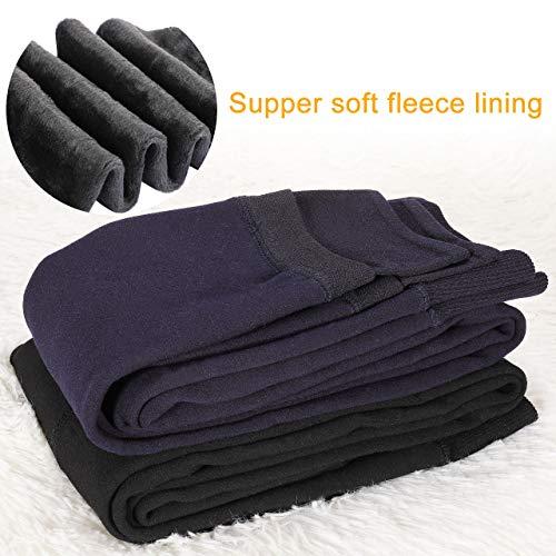 Emooqi Leggings Largas de Invierno para Mujer, Pack de 2 Leggings Cintura Alta, Leggings Térmicos Calientes con Forro Polar, Leggings Pantalones Mallas Elásticos, L, Negro + Azul Marino