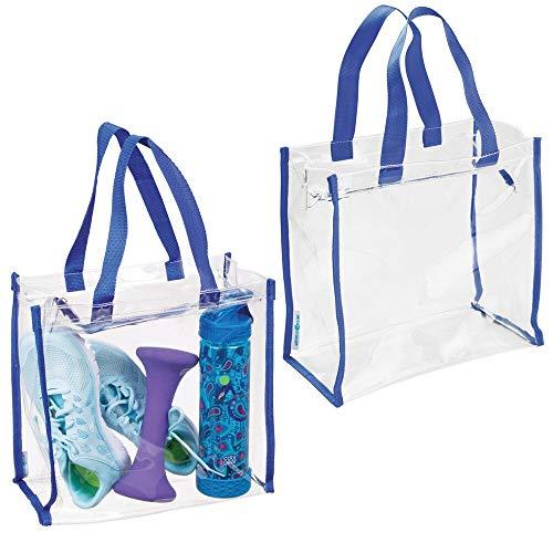 mDesign Sports - Sporttas - schoudertas - voor trainingsuitrusting, kleding, accessoires/waterafstotend - transparant/blauwe details - Doorzichtig/marineblauw - per 2 stuks verpakt