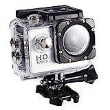 Vbestlife Mini Videocámara Deportiva a Prueba de Agua 1080P Ultra HD 32GB Action Camera al Aire Libre Baterías Recargables con Soporte para Buceo, Nadar, Ciclismo, etc. (Plata)