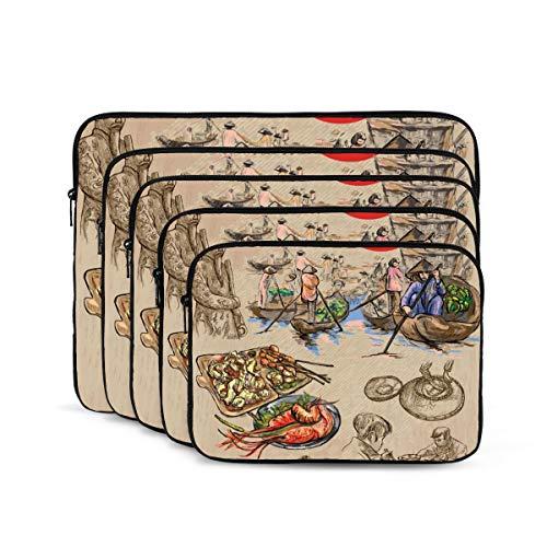 KUUDJIT Vietnam Pictures of Life Colored (1) 12/13/15/17 Inch Laptop Sleeve Bag for MacBook Air 13 15 MacBook Pro Portable Zipper Laptop Bag Tablet Bag,Diving Fabric,Waterproof