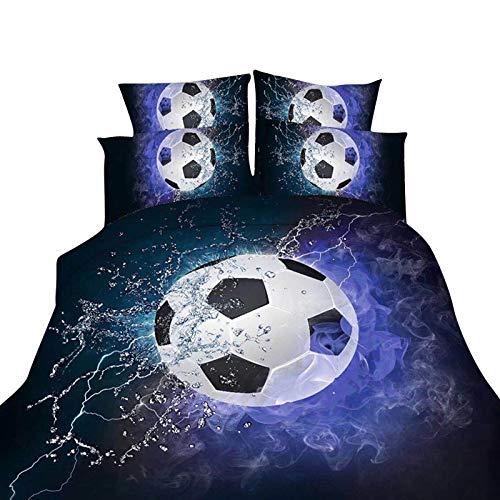 MISSMAOM Copripiumino con Stampa 3D di Pallacanestro e Calcio, Copripiumino Soft And Comfortable Sport Series,Calcio,150x210cm