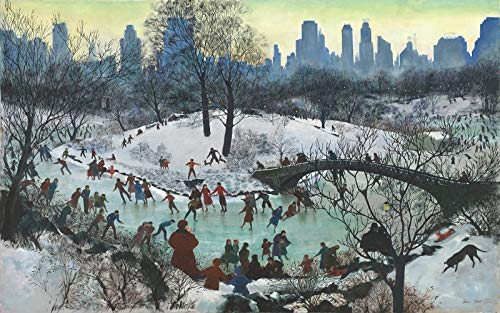Wooden Christmas Jigsaw Puzzle - Skating in Central Park - 249 Unique Wooden Pieces - Made in The USA by Nautilus Puzzles