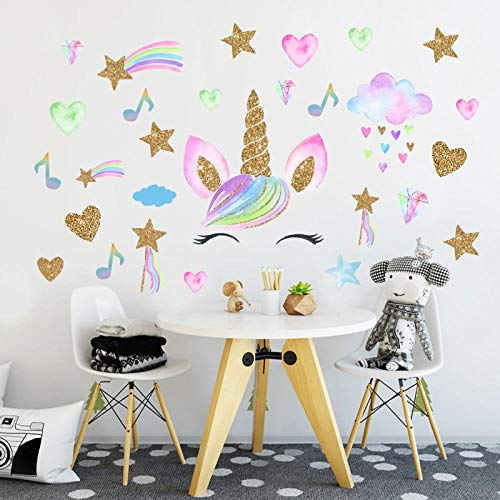 DIY Golden Music Stars Unicorn Vinyl Wall Stickers Funny Cartoon Animal Art Wall Decals for Kids Room Bedroom Home Decor