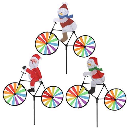 Sac de rangement AXSWER Moulin à vent 3D Grand Père Noël sur vélo Moulin à vent Whirligig Cour, décoration de jardin