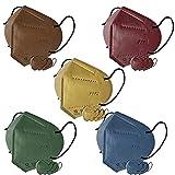 Cubik, Mascarilla FFP2 pack 4 amarilla 4 azul 4 marrón 4 verde 4 burdeos, Homologada CE 0161, Caja 20 unidades, Fabricación Española, Alta eficiencia 5 capas, talla única