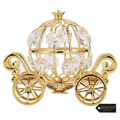 Matashi 24K Gold Plated Crystal Studded Small Cinderella Pumpkin Coach Figurine Ornament - Gifts for Kids Teens and Adults, Romantic Gifts, Valentine's Day, Birthday, Mother's Day
