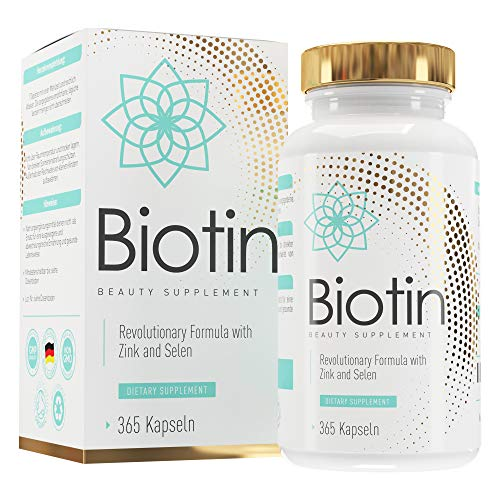 Biotin Hochdosiert - 10.000 mcg D-Biotin angereichert mit Zink & Selen - 365 vegane Tabletten im 1-Jahresvorrat - Vitamin B7 für Haare, Haut und Nägel - SKINLOVE®