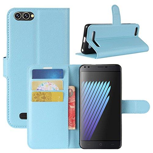 HualuBro Doogee X30 Hülle, Premium PU Leder Leather Wallet Handyhülle Tasche Schutzhülle Hülle Flip Cover mit Karten Slot für Doogee X30 5.5 Inch Smartphone (Blau)