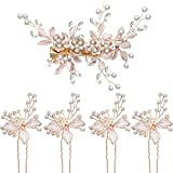 5 Stück Braut Strass Haarnadeln Hochzeit Haarspangen Braut Haarteil Blütenblätter mit Kunstperlen Haarspange für Hochzeit Haarschmuck (Leichtes Roségold)