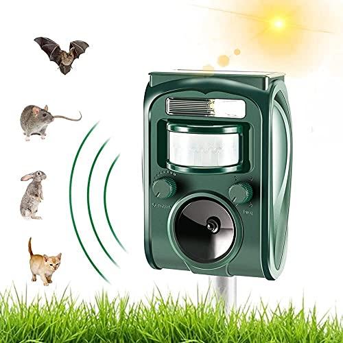 Cat Repellent, Animal Repeller Outdoor, Solar & USB Charge Battery Operated Fox Deterrent Cat Scarer for Garden qnq0819