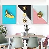 Leinwanddrucke 3 Stück,Nordic Goldene Banane Erdbeere Obst
