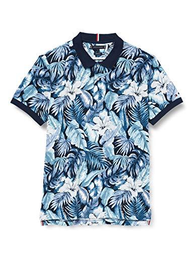 Tommy Hilfiger Herren All Over Flower Print Reg Polo Hemd, Blue, X-Large