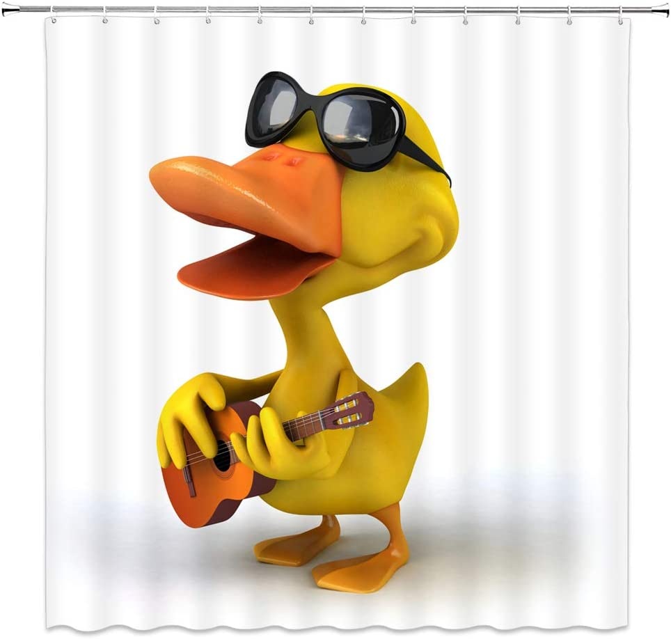 AMHNF Funny Duck Shower Curtain Comic Animal Play Guitar with Black Sunglasses Lovely Kids Bathroom Decor Curtain Fabric 70x70Inch with Hooks ,Yellow White