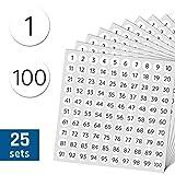 1-100 Números Círculo Pegatinas Redondo Etiquetas - 1cm, 25 por numero, 2500 piezas