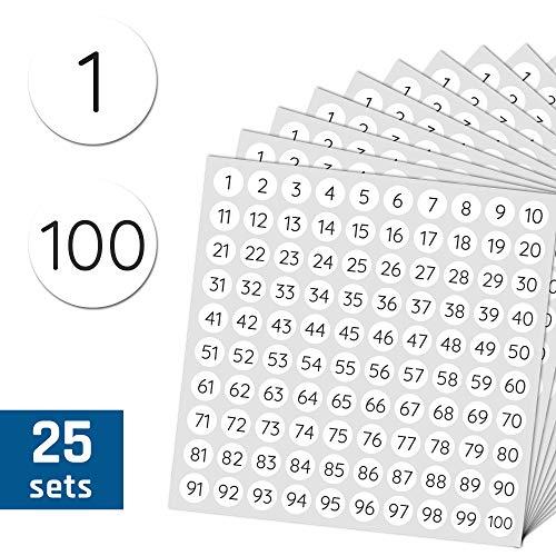 1-100 Zahlen Nummern Aufkleber, Rund, 1 cm, 25 Blatt, 2500 Etiketten