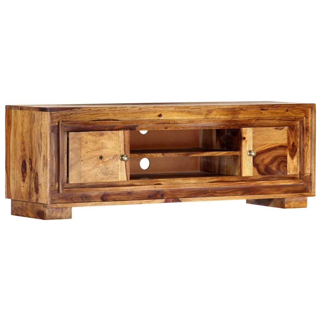Meuble TV Table de Salon Table Basse avec Deux tiroirs Bois Solide de Sesham pour Bureau TV 120x35x45 cm