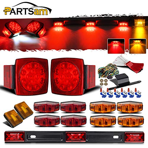"Partsam Submersible Led Truck Trailer Lights Kit 12V, 2xSquare Led Trailer Light Kits+14.17"" Red 3 Light 9 LED ID Light Bar+2xAmber Side Marker w/Reflex+ 8pcs 2.5"" Oval Led Marker Clearance Lights"