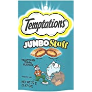 Temptations Jumbo Stuff Tempting Tuna Flavor Crunchy and Soft Cat Treats, 2.5 oz, 2.47 OZ