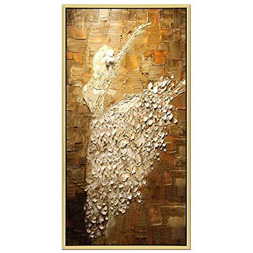 3D Dibujado a mano Bailarina Pintura al óleo,Blanco dorado Vertical Abstracto Pintura de la lona Cartel Moderno de estilo Cuadros de pared para sala de estar Pasillo (Sin Marco),80x200cm