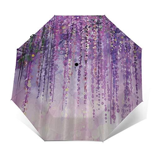 Compact Umbrella Windproof, Travel Umbrella, Lightweight Automatic Umbrellas with UV Protection (Spring Landscape Purple Floral)