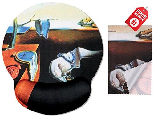 Salvador Dali La persistencia de la memoria Alfombrilla de ratón de diseño ergonómico con reposamuñecas Soporte para las manos. Trapo de limpieza de microfibra a juego.