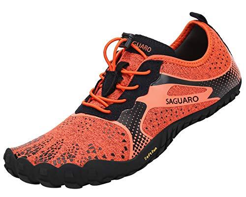SAGUARO Hombre Mujer Barefoot Zapatillas de Trail Running Minimalistas Zapatillas de Deporte Fitness Gimnasio Caminar Zapatos Descalzos para Correr en Montaña Asfalto Escarpines de Agua, Naranja, 41