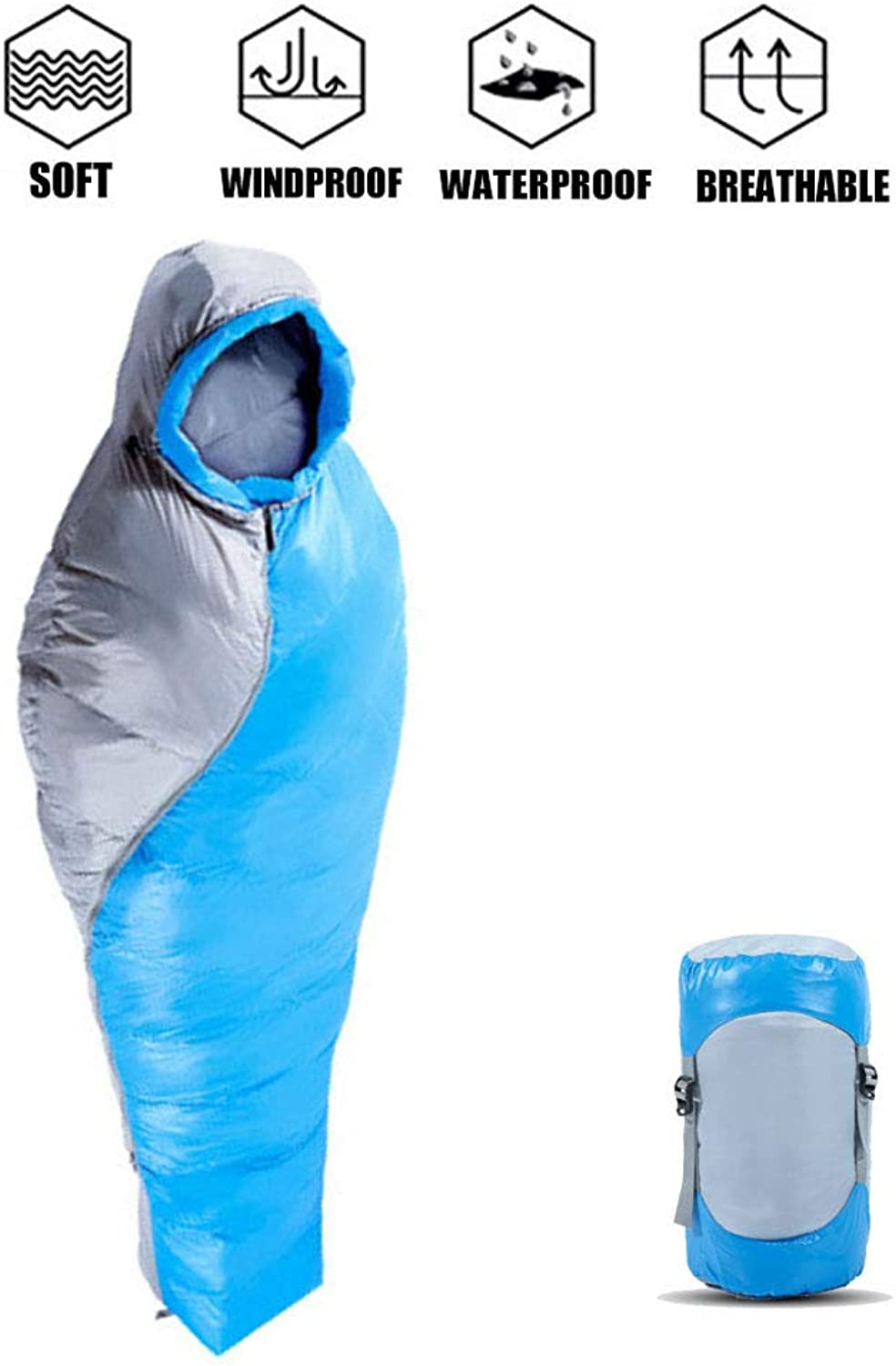LIUSIYU 0 Degree Mummy Sleeping BagUltralight Cold Weather, 4 Season BagPerfect for Backcountry Camping and Backpacking