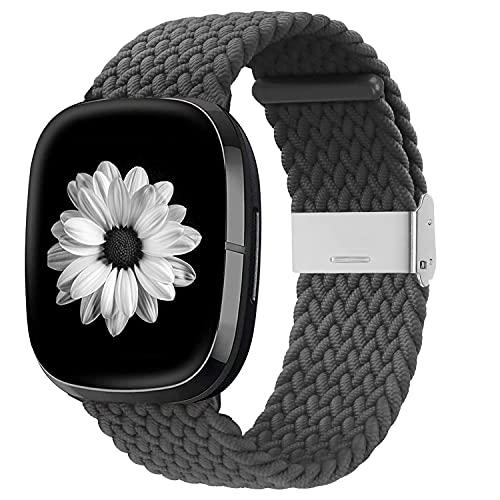 Zoholl Kompatibel mit Fitbit Sense/Versa 3 Armband, elastisch atmungsaktives weiches Nylon Kinitting Sport Ersatzband für Versa 3 Smart Watch für Damen Männer