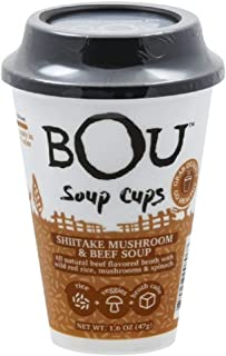 BOU Soup Cups - Shiitake Mushroom & Beef, 1.6 oz (Pack of 6) Best By Date 7/30/2019