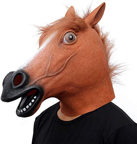 CreepyParty PferdeMaske Halloween Kostüm Party Tierkopf Latex Maske Pferd Karneval Masken (Braun)
