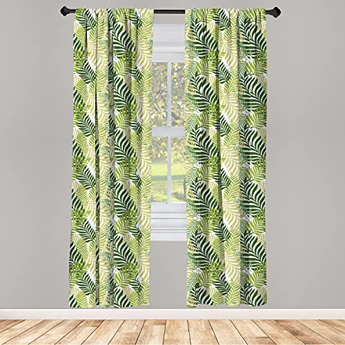 """Ambesonne Leaf Curtains 2 Panel Set, Tropic Exotic Palm Tree Leaves Natural Botanical Spring Summer Contemporary Graphic, Lightweight Window Treatment Living Room Bedroom Decor, 56"""" x 95"""", Green Ecru"""