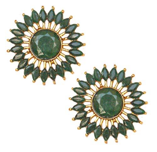Pahal - Pendientes de oro redondo de Kundan verde tradicional Jhumka del sur de la India Bollywood joyería de novia para mujer