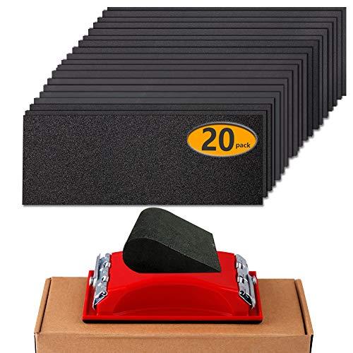 "Sandpaper Girt 180 to 2500 Sand Paper with Sanding Block Hand Sander, Wet Dry Variety Pack Abrasive Sandpapers Assortment for Wood Automotive Car Furniture Metal Polishing Finishing, 9х3.6"", 20 Sheets"