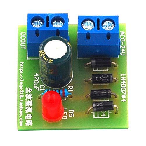 1N4007 Puente rectificador de CA a CC Convertidor de potencia Full Wave Rectifier Board Kit Convertidor de potencia Piezas - verde