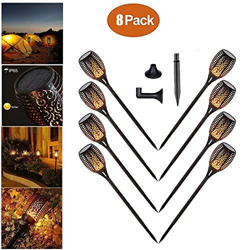 [Chaozan ]Lumière solaire de torche, lumière de flamme de scintillement de 96 LED allume les allées de jardin/cour extérieure (8 pack)