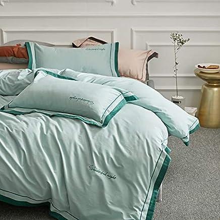 AnnBlue Accueil Textile Couleur Rayures Style Fleur 100/% Coton 4 Pcs Literie Ensemble Housse De Couette Draps Draps Taie doreiller Literie Reine